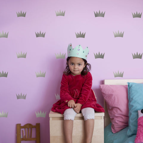 32 Silver Metallic Princess Crown Vinyl Wall Decals - Wall Dressed Up