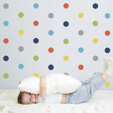 "36 Polka Dot Wall Decals, Navy Orange Gray Yellow Green Eco-Friendly 4"" Dot Fabric Wall Stickers - Wall Dressed Up"