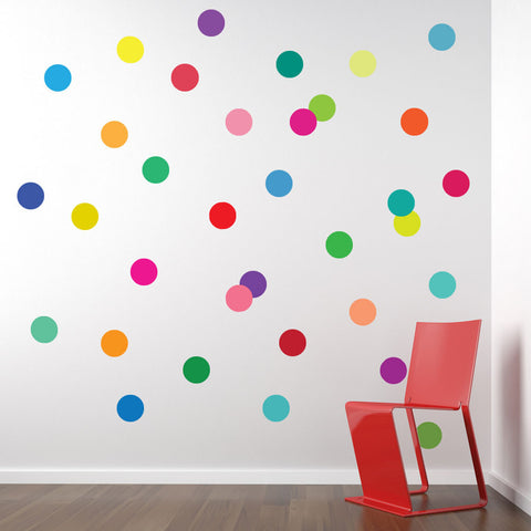 36 Rainbow Polka Dots Wall Decals, Confetti Dots Matte Fabric Removable and Reusable - Wall Dressed Up