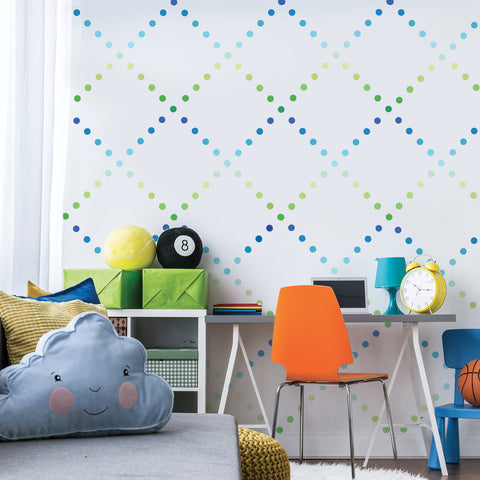 "Mini 2"" Ombre Blue Green Polka Dot Wall Decals, Reusable - Wall Dressed Up"
