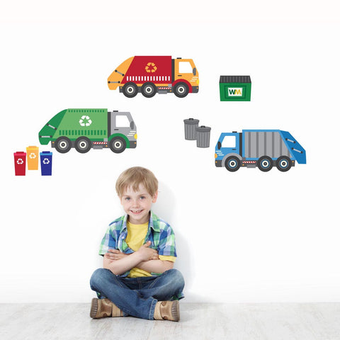 Garbage Truck and Recycling Truck Wall Decals, Peel and Stick Eco-Friendly Wall Decal Stickers - Wall Dressed Up