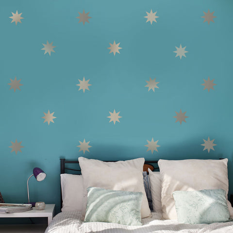 "25 Silver Metallic 4"" Eight Point Star Vinyl Wall Decals - Wall Dressed Up"