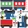 Train Wall Decals, Blue Caboose Freight Trains, Straight RR Track (Right Facing) Fabric Wall Decals Color 1 - Wall Dressed Up