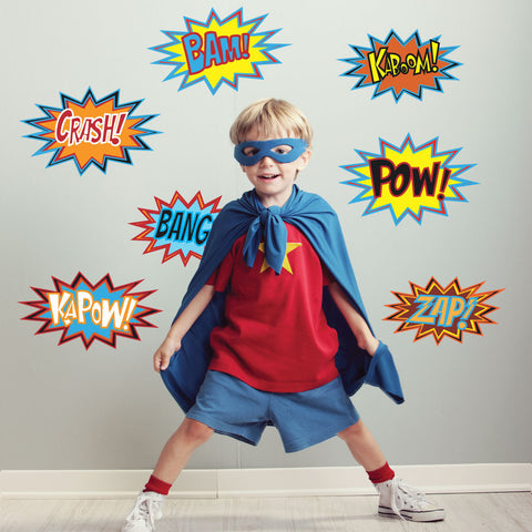 Superhero Comic Sayings Wall Decals Pow Zap Bam Hero Comics - Wall Dressed Up