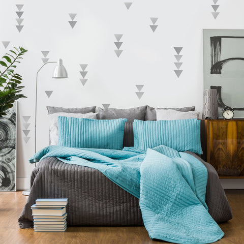 36 Large Silver  Metallic Triangle Wall Decals - Wall Dressed Up