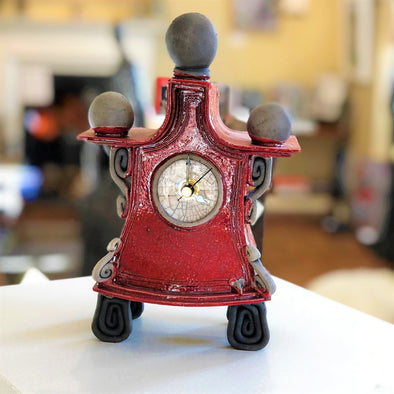 Red Stonesplitter Clock by Ian Roberts