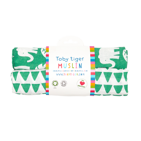 Set 2 Swaddle in Mussola Giungla Verde | TOBY TIGER | RocketBaby.it