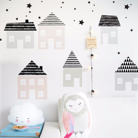 Set Stickers da Muro Paesino Scandinavo | DEKORNIK | RocketBaby.it
