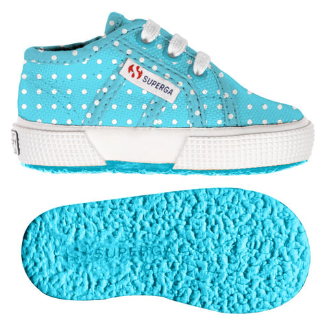 Sneaker Baby Superga con Lacci Turquoise a Pois | SUPERGA | RocketBaby.it