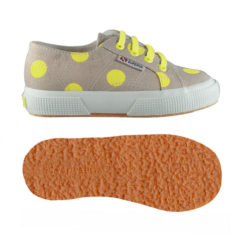 Sneakers Baby Superga Con Lacci Beige E Dots Yellow Fluo | SUPERGA | RocketBaby.it