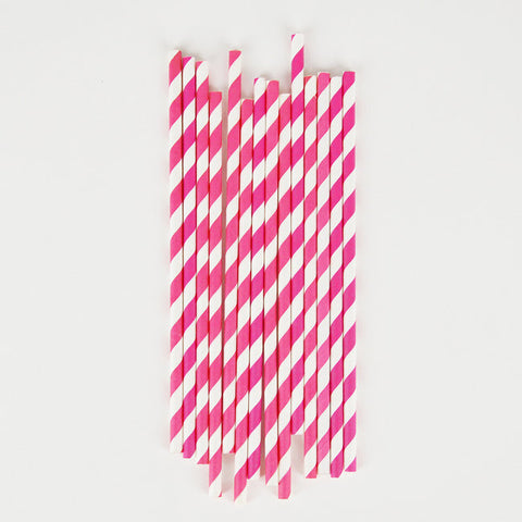 25 Cannucce Di Carta Bright Pink Stripes | MY LITTLE DAY | RocketBaby.it