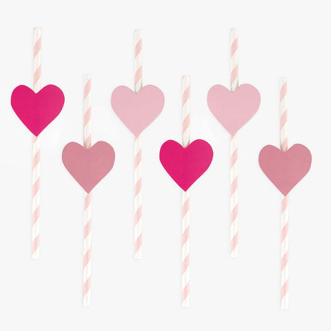 12 Cannucce In Carta Pink Hearts | MY LITTLE DAY | RocketBaby.it