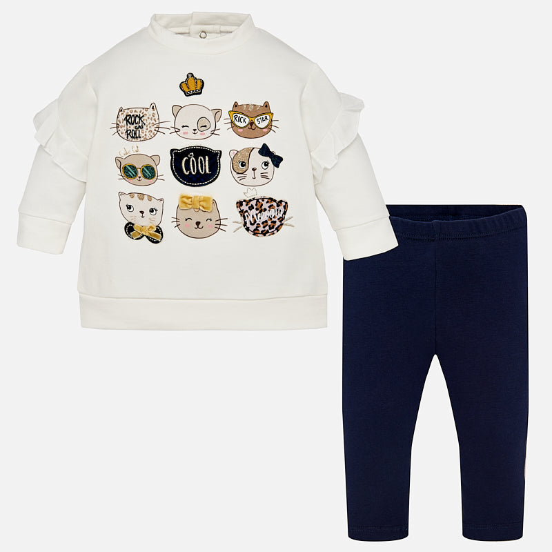Set Completo Maglia a Maniche Lunghe e Leggings Gattini Blu Navy | MAYORAL | RocketBaby.it