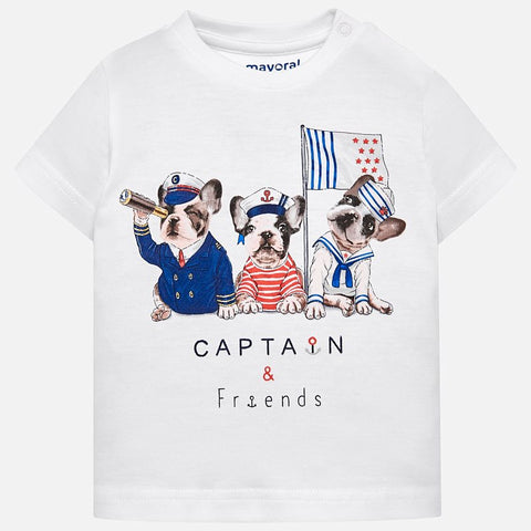 Maglia a Maniche Corte Captain and Friends Bianco | MAYORAL | RocketBaby.it