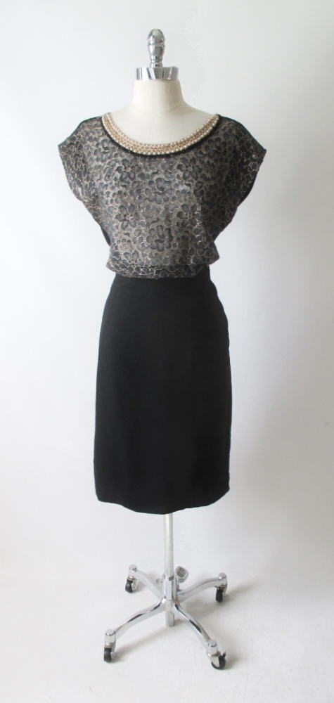Vintage 50's Pearl Collar Sheer Black Lace Knit Top - Bombshell Bettys Vintage