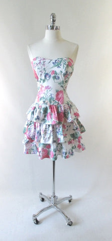 Vintage 80's Garden Flowers Strapless Mini Dress XS