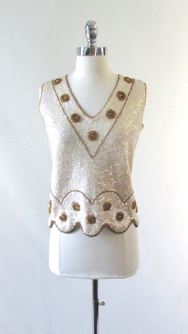 Vintage 50's 60's Sequins & Beaded Flowers Wool Tank / Shell Top M
