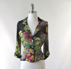 Gail Garner all that glitters vintage 80's 70's rayon georgette sheer floral jacket overshirt bombshell bettys vintage full