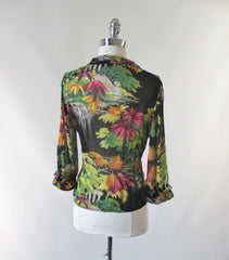 Gail Garner all that glitters vintage 80's 70's rayon georgette sheer floral jacket overshirt bombshell bettys vintage back