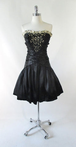 Vintage 80's 90's Strapless Black Satin & Gold Party Dress XS