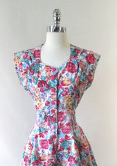 vintage 80's 90's floral flower button up full skirt mini summer party dress bombshell bettys vintage bodice