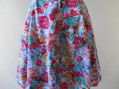 vintage 80's 90's floral flower button up full skirt mini summer party dress bombshell bettys vintage print