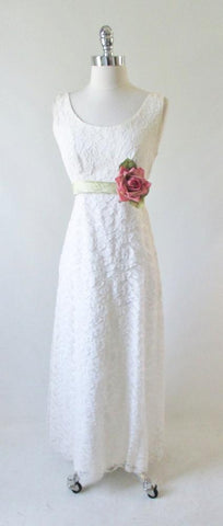 Vintage 60's White Lace Full Length Wedding Dress Gown