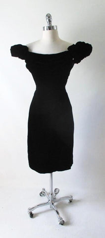 Vintage 50's 60's Cold Shoulder Lilli Diamond Black Velvet Cocktail Dress