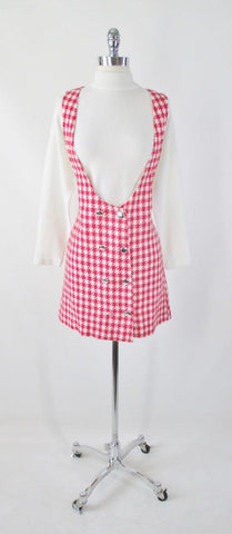 Vintage 60's Red White Houndstooth Mini Jumper Dress Skirt M