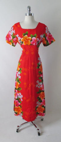 Vintage 60's Red Hawaiian Pink Orange Flower Barkcloth Maxi Dress M