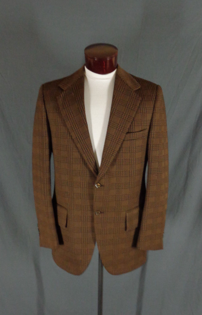 Vintage Action Tailored By Rough Rider Brown Polyblend Checkered Blazer - 44 gallery