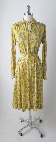 Vintage 70's Yellow Blue Flower Keyhole Day Tent Dress Tricoville England L
