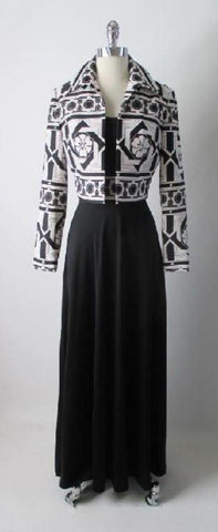 Vintage 70's Black White Tori Richards Op Art MOD Flower Hawaiian Dress Jacket Set M