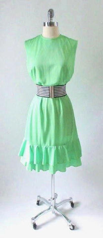 Vintage 60's 70's Edith Flagg MOD Lime Green Ruffle Mini Dress L