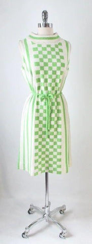 Vintage 60's Lime Green MOD Block Checkerboard Stripe Knit Sweater Shift Dress M
