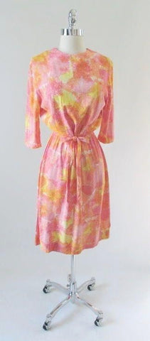 Vintage Mid Century 60's Pastel Watercolor Casual Sheath Day Dress  M