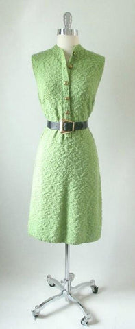 Vintage 60's St John Green Sport Knit Tunic Shift Sweater Day Dress S