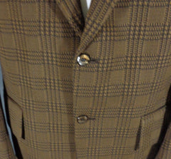 Vintage Action Tailored By Rough Rider Brown Polyblend Checkered Blazer - 44 closure