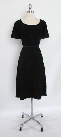 Vintage 40's Black With Knit Ribbon Polka Dots Dress L