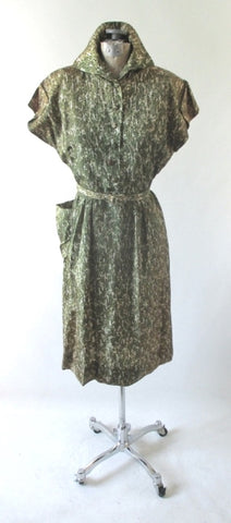 Vintage 40's Green Casual Day Dress M