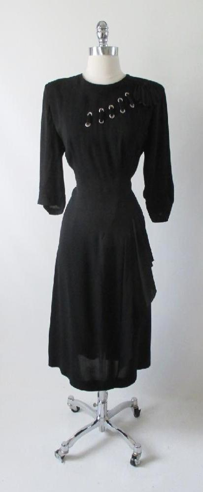 Vintage 40's Black Rayon Satin Laced Dress L - Bombshell Bettys Vintage