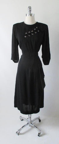 Vintage 40's Black Rayon Satin Laced Dress L