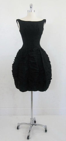Vintage 50's 60's Couture Black Sphere Bubble Skirt Party Evening Dress S