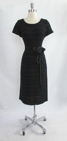 Vintage 50's Black Knit Ribbon Dress With Taffeta Rosette M
