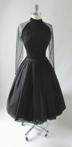 Vintage 50's Sheer Black Silk Chiffon Cocktail Party Dress S