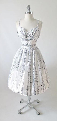 Vintage 50's Iinspired Sheet Music Note Full Skirt Summer Sun Dress All Sizes