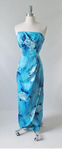 Vintage Late 60's Blue Hawaiian Sarong 50's Style Dress Full Length Strapless Gown M S