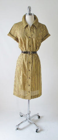 Vintage Early 60's Brown Yellow Gingham Plaid Shirt Button Day Dress & Belt M