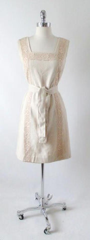Vintage 60's Natural Tan & Lace Shift Dress Matching Belt S