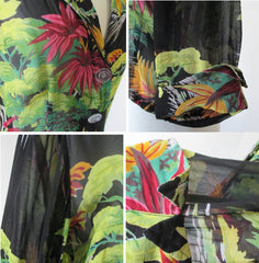 Gail Garner all that glitters vintage 80's 70's rayon georgette sheer floral jacket overshirt bombshell bettys vintage details